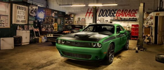 Green Challenger T/A sitting in a garage