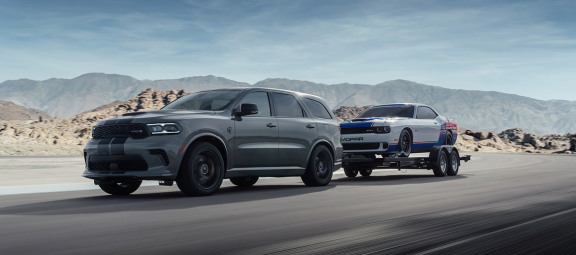 2021 Dodge Durango SRT Hellcat towing a Mopar Drag Pak
