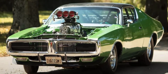 Dodge Charger with a large engine and no hood