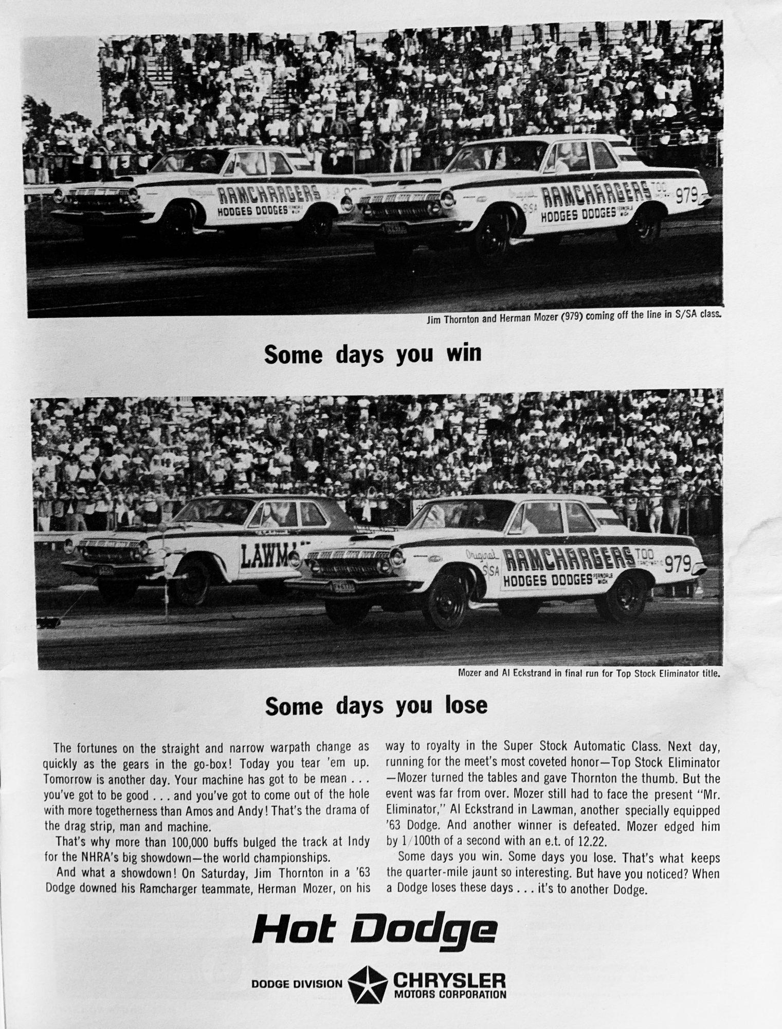 Super Stock Dodge advertisement