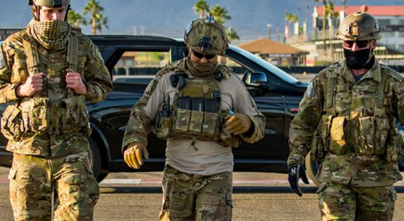 Military men walking to their tactical class at Bondurant