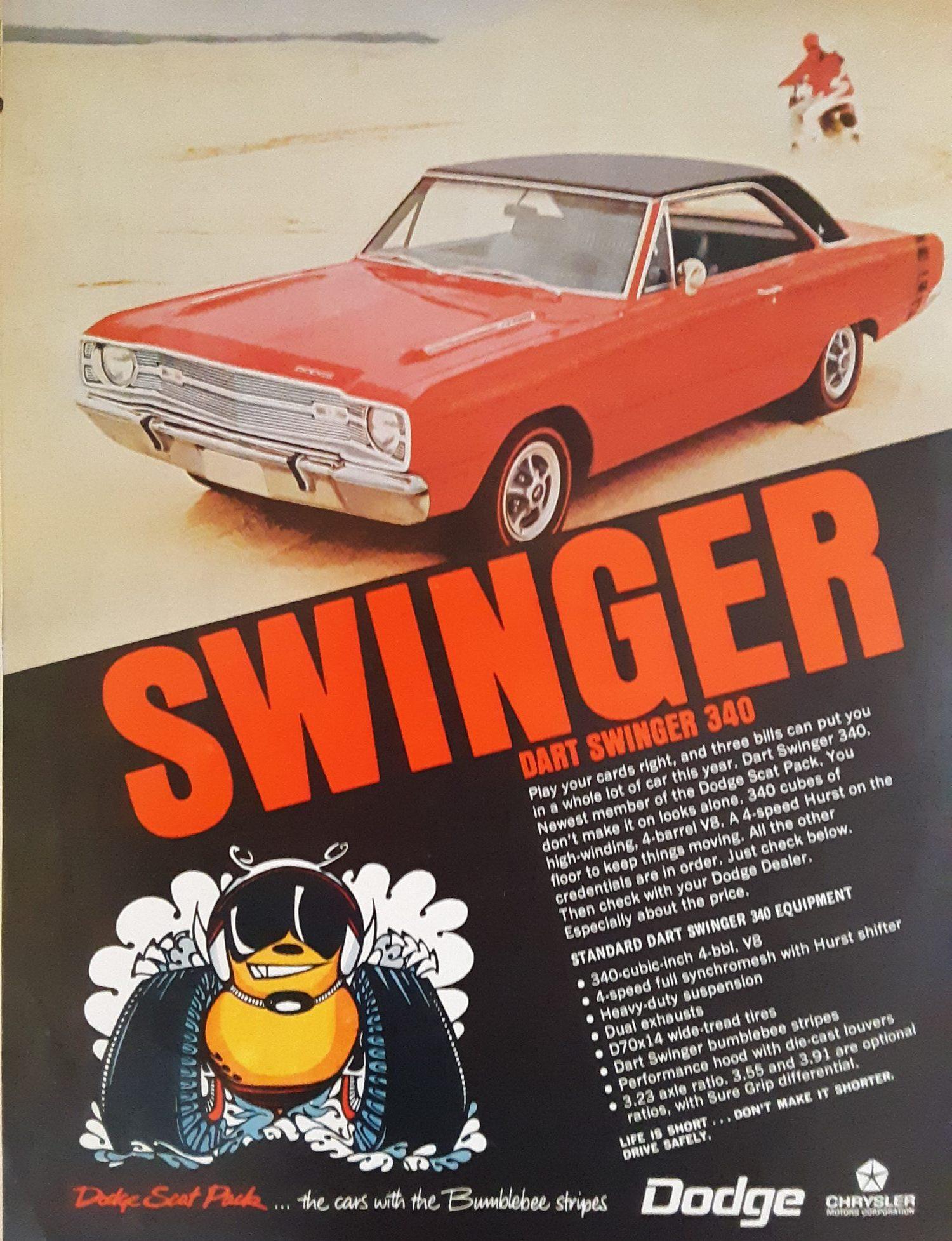 Old Dodge Dart Swinger advertisement