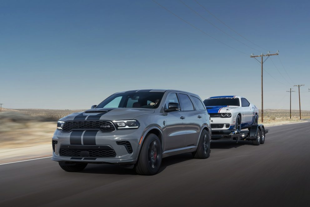 Dodge Durango SRT Hellcat: The Durango continues its ability to out-haul every full-size, three-row SUV on the road with the SRT Hellcat, SRT 392 and R/T Tow N Go delivering best-in-class towing capability of 8,700 pounds
