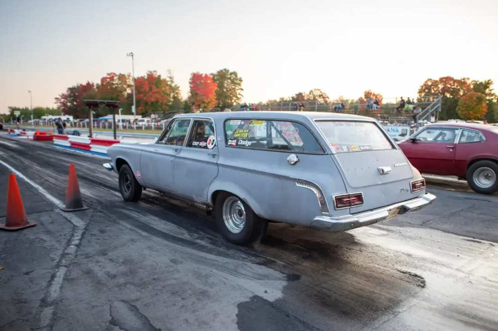 1963 440 Dodge station wagon lining up to race