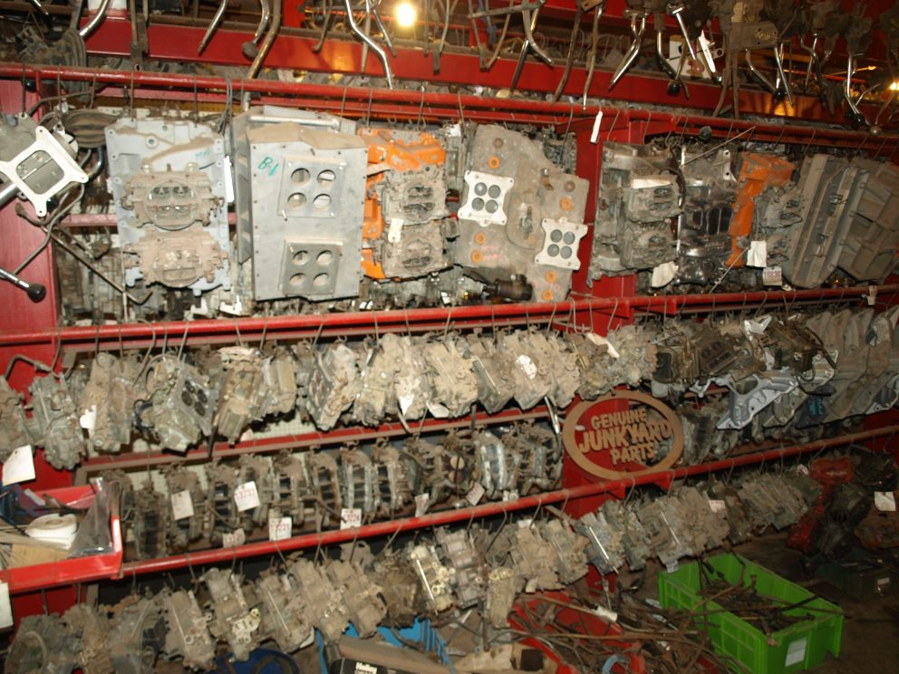 rare Mopar parts on shelves at Mopar City