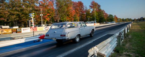 1963 440 Dodge station wagon racing down the drag strip