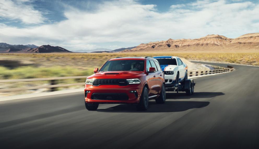 2021 Dodge Durango R/T AWD towing a Mopar Drag Pak