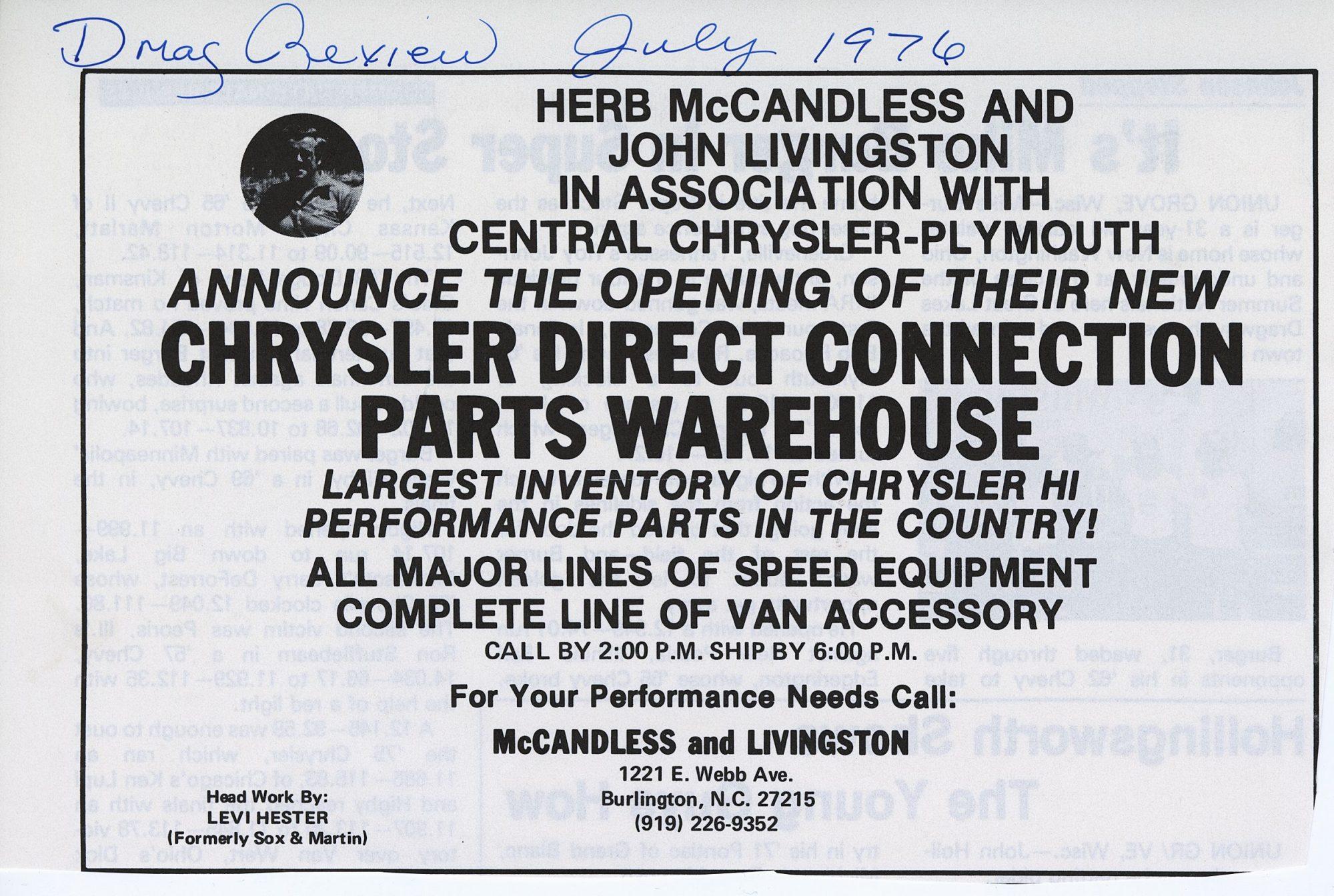 Herb McCandless racing advertisement
