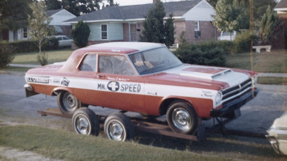 Herb's race car sitting on a trailer