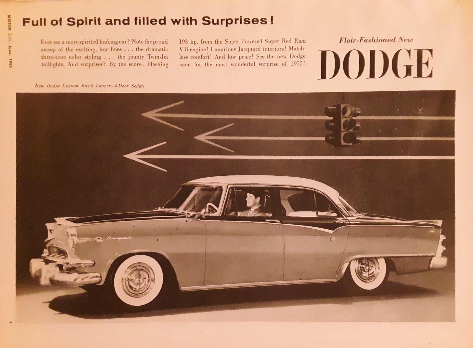 Classic Dodge advertisement for 1955 Custom Dodge Lancer
