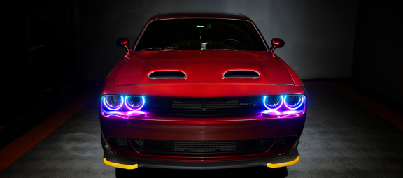 Dodge Challenger with colored headlights