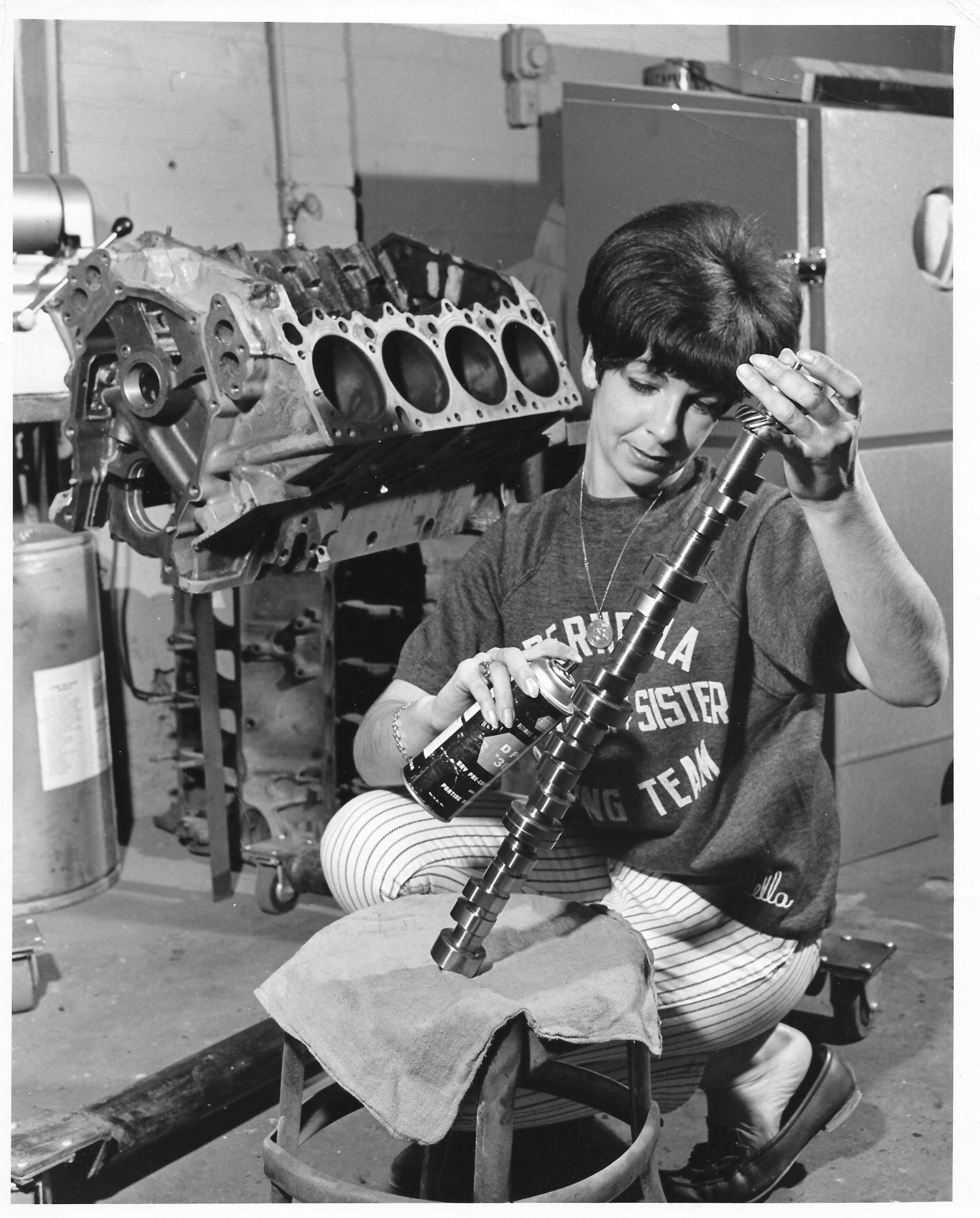 Della Woods working on a HEMI engine