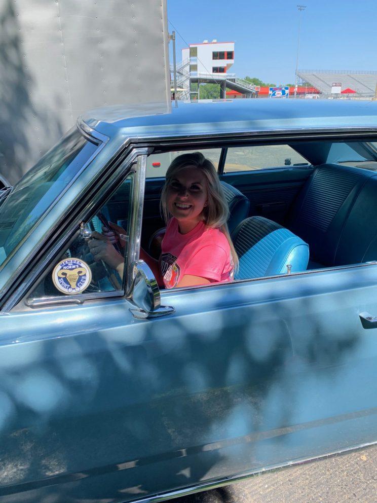 Adrianna Straub sitting in her car