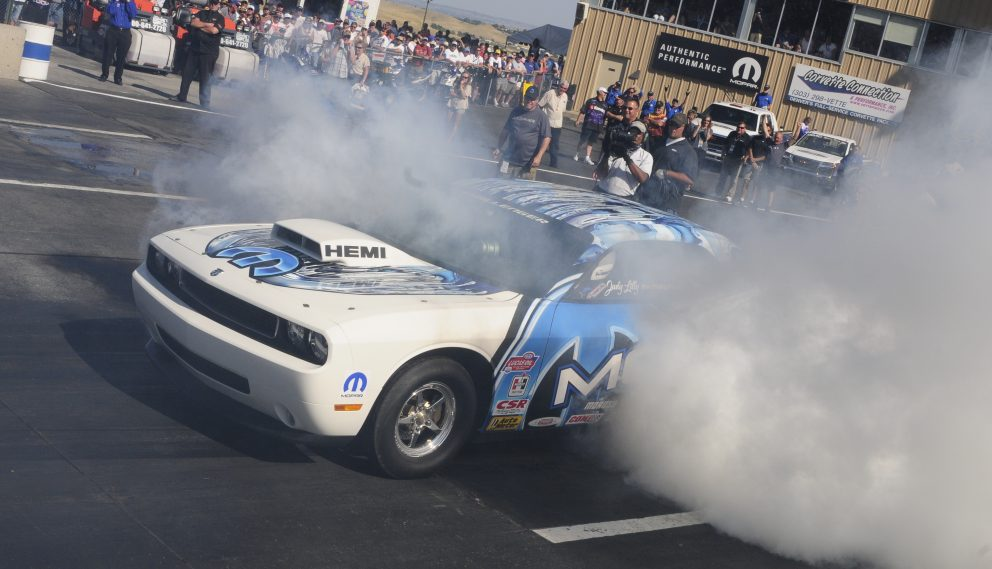 Judy Lilly doing a burnout