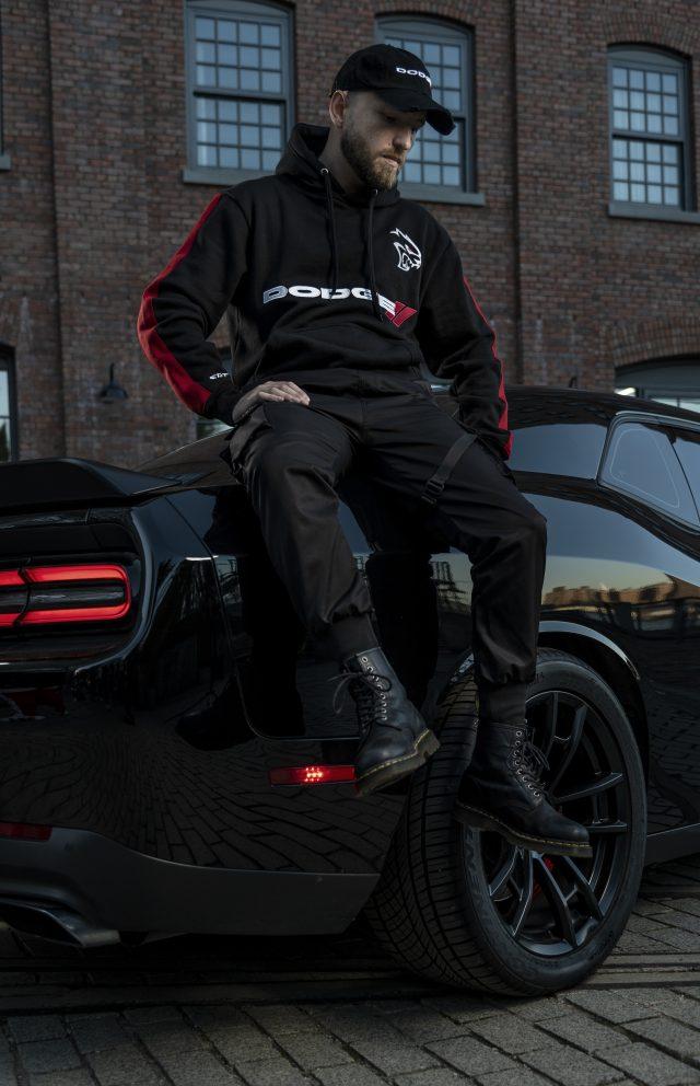 man wearing Hellcat hoodie