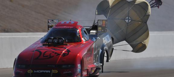 Matt Hagan racing down the drag strip