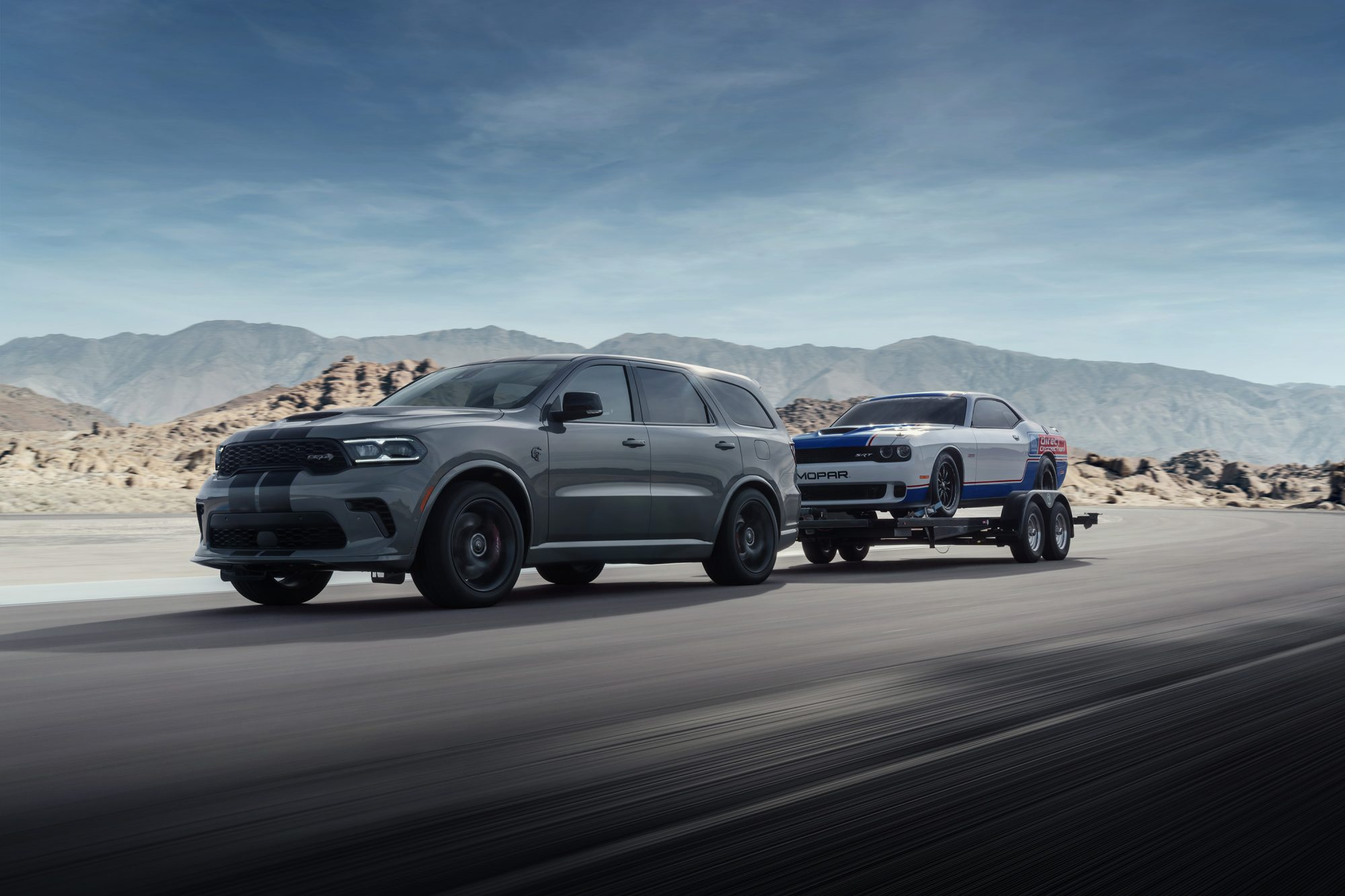 Durango SRT Hellcat towing a Dodge Challenger Mopar Drag Pak