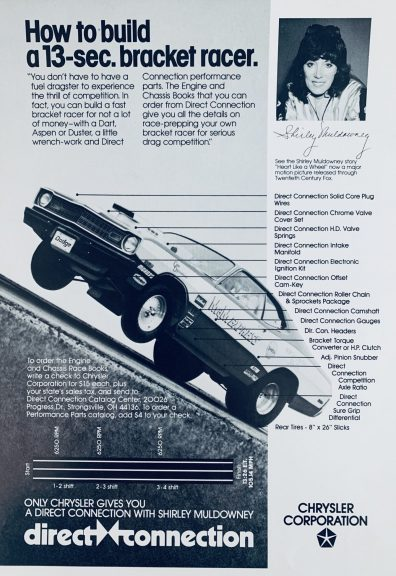 Direct Connection ad featuring Mark Nowickis drag car