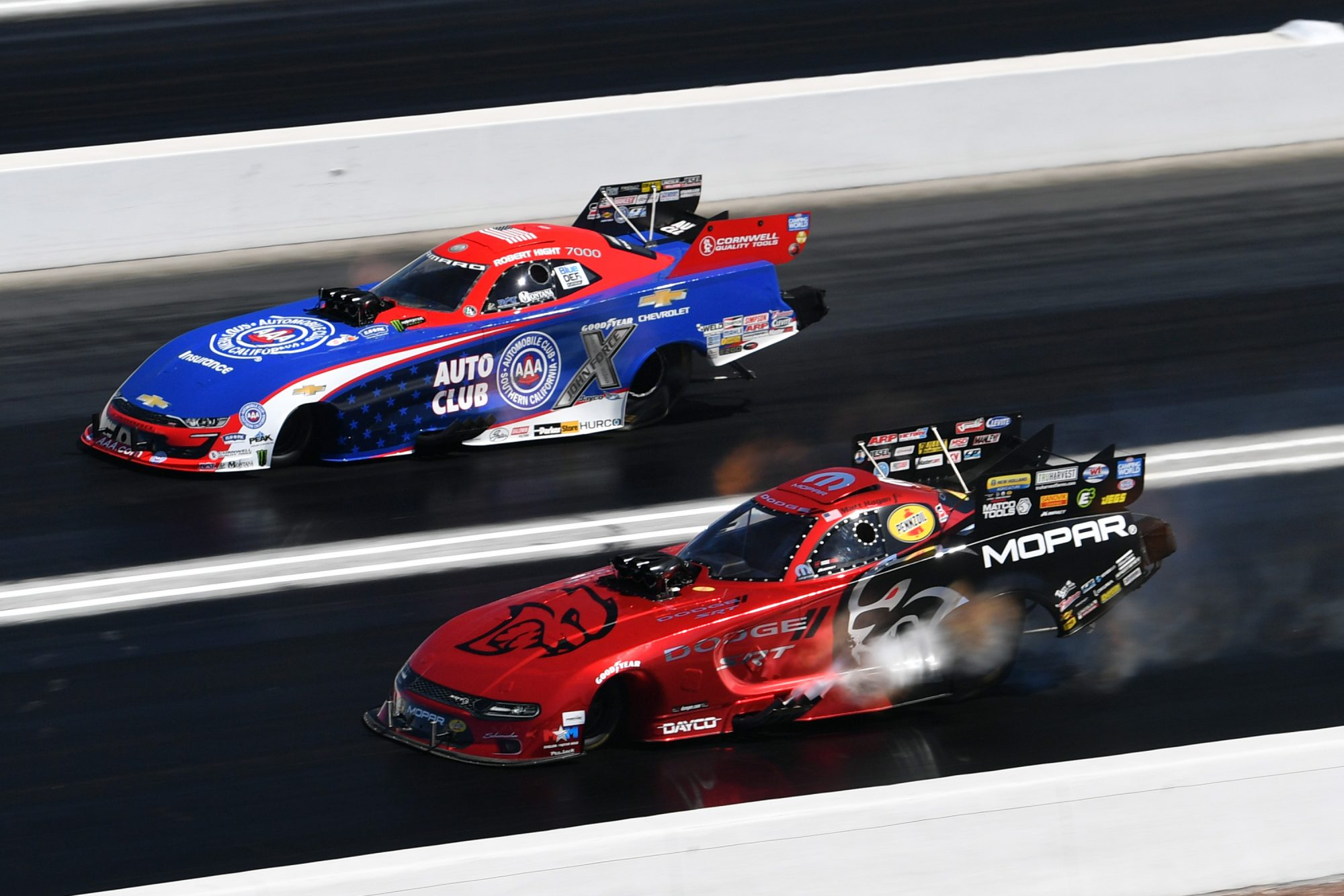 Matt Hagan racing his funny car