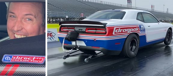 Man and a 2021 Dodge Challenger Mopar® Drag Pak