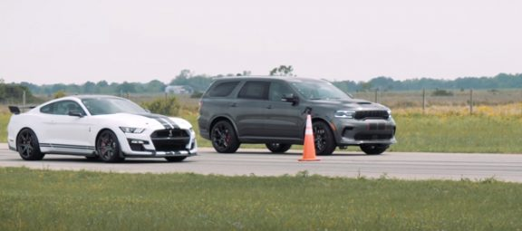 Dodge Durango SRT Hellcat and Ford Mustang Shelby GT500 on a drag strip