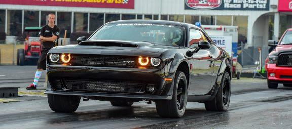 Black Challenger drag racing