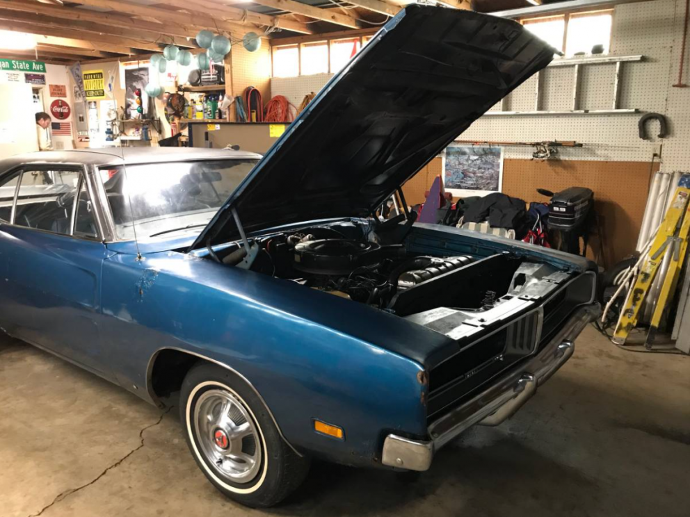 1969 Dodge Charger with the hood open