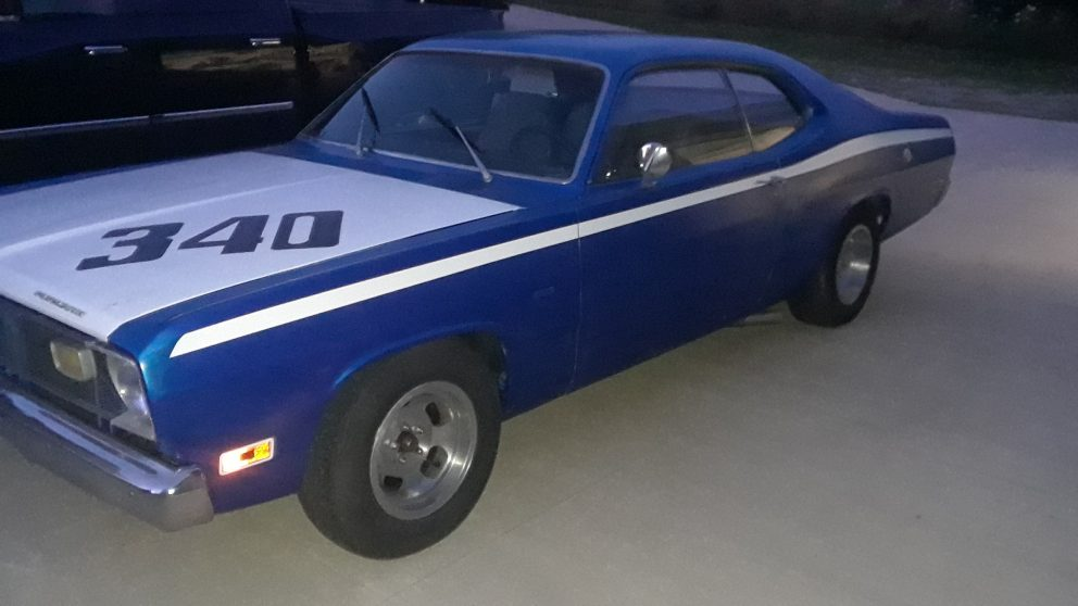 Blue Dodge muscle car