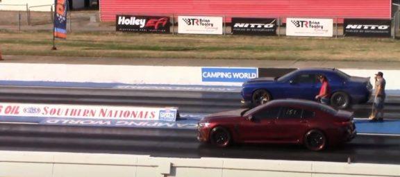 2021 BMW M8 and Dodge Challenger SRT Hellcat on a drag strip
