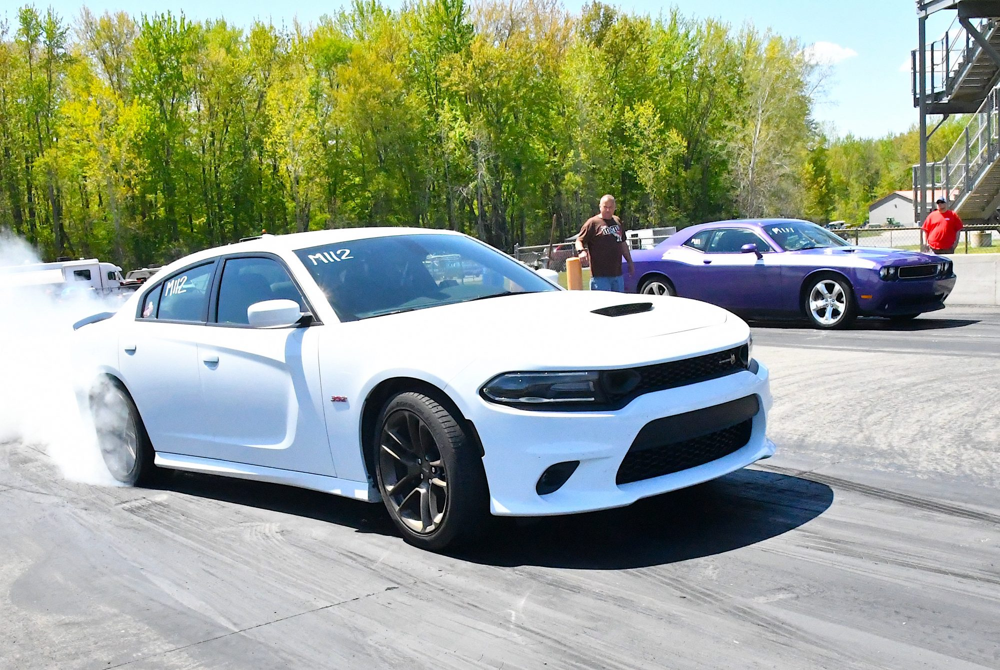 Charger doing a burnout