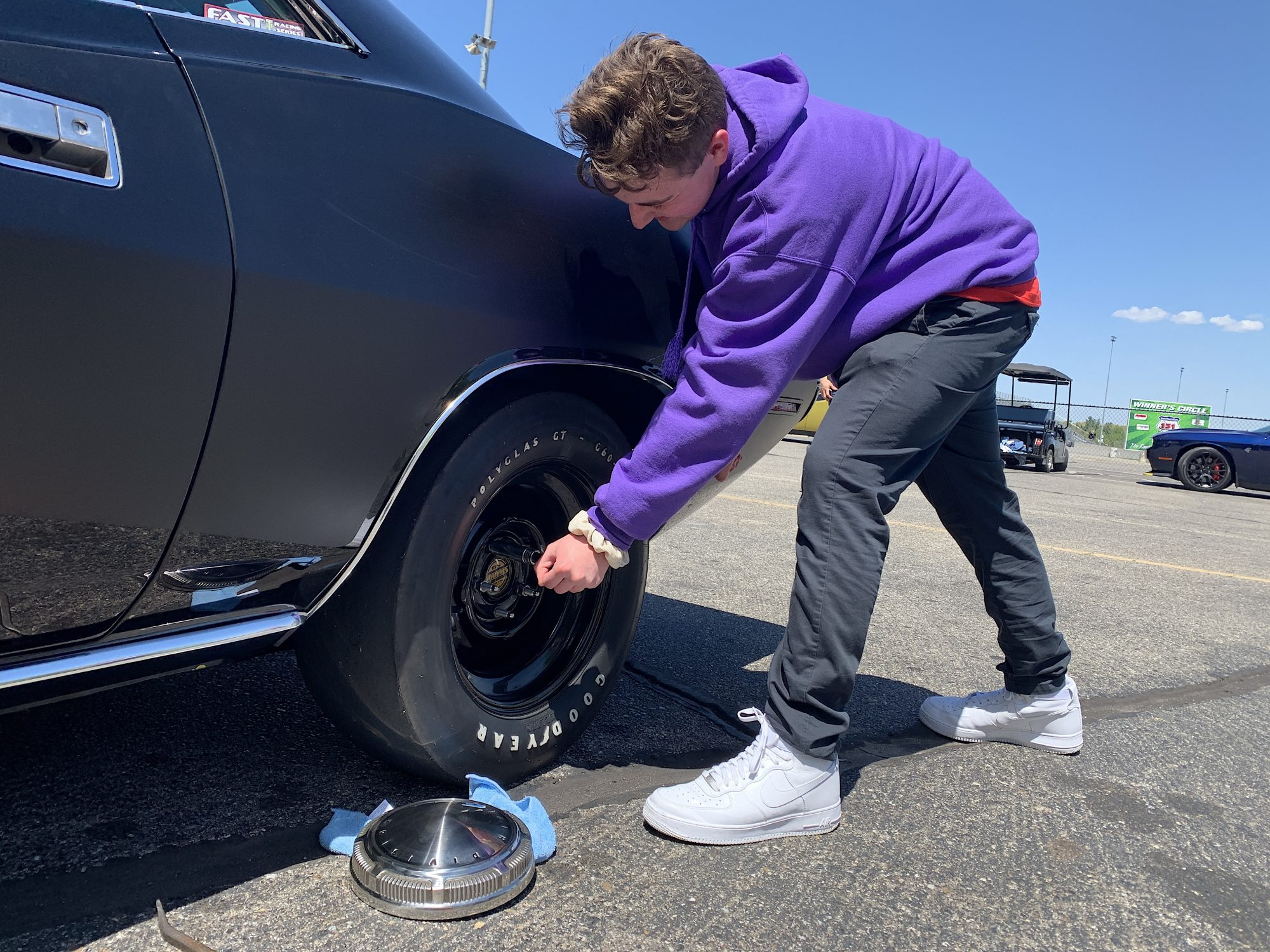 Man working on a tire