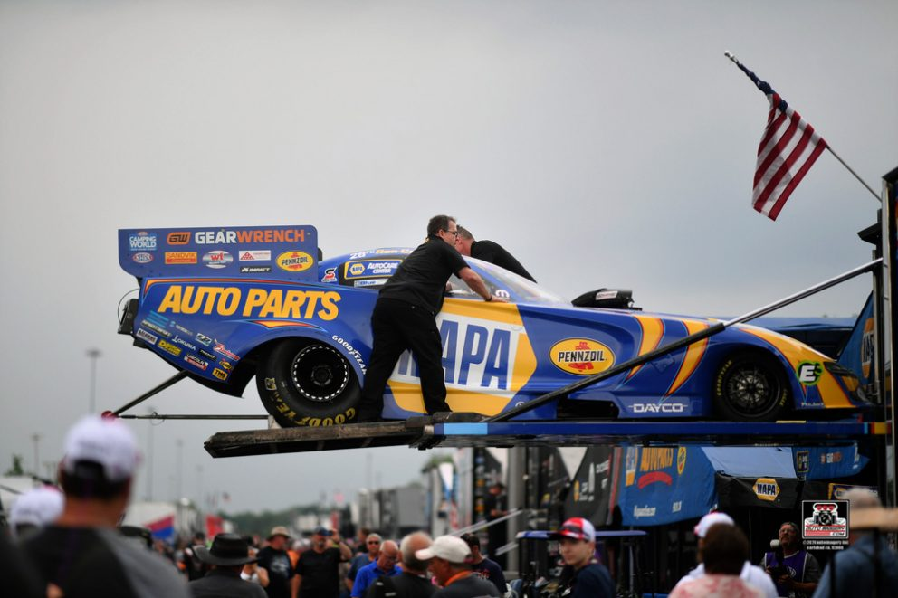 Ron Capps car coming off the trailer