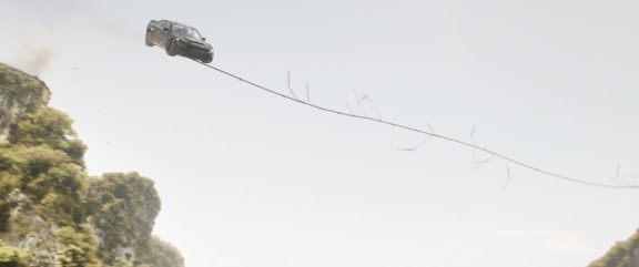 Dodge Charger SRT Hellcat being sling shot through the sky