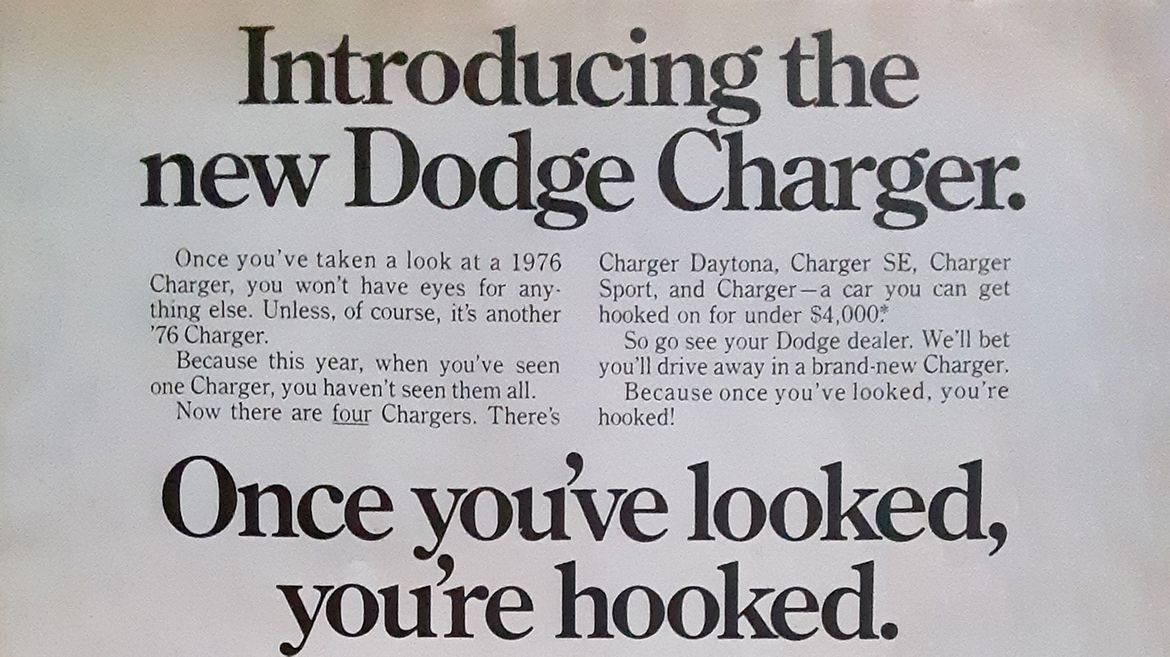 Old Dodge Charger ad