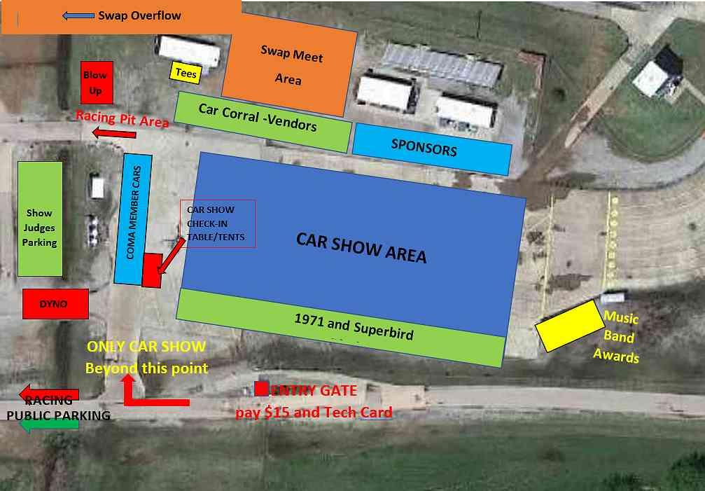 Southern Plains Mopar Fest event layout