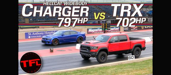 2021 Ram 1500 TRX and a 2021 Dodge Charger SRT Hellcat Redeye Widebody on the starting line of a drag strip