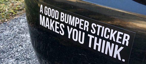 Bumper sticker on a vehicle