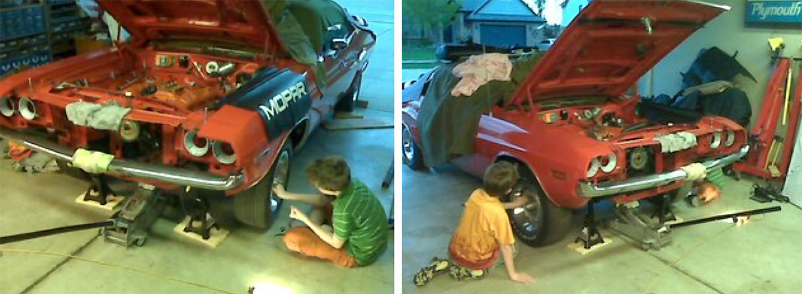 Kids working on a vehicle