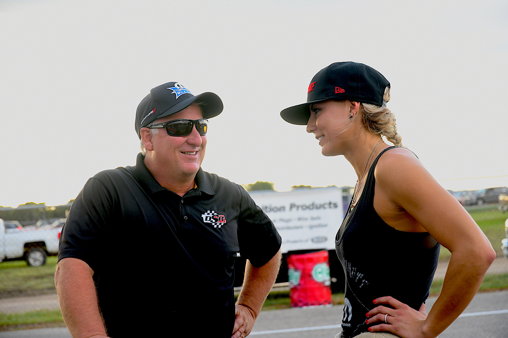 Leah talking with a crew member