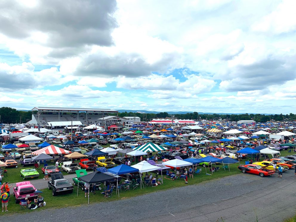 Full lot of vehicles on display