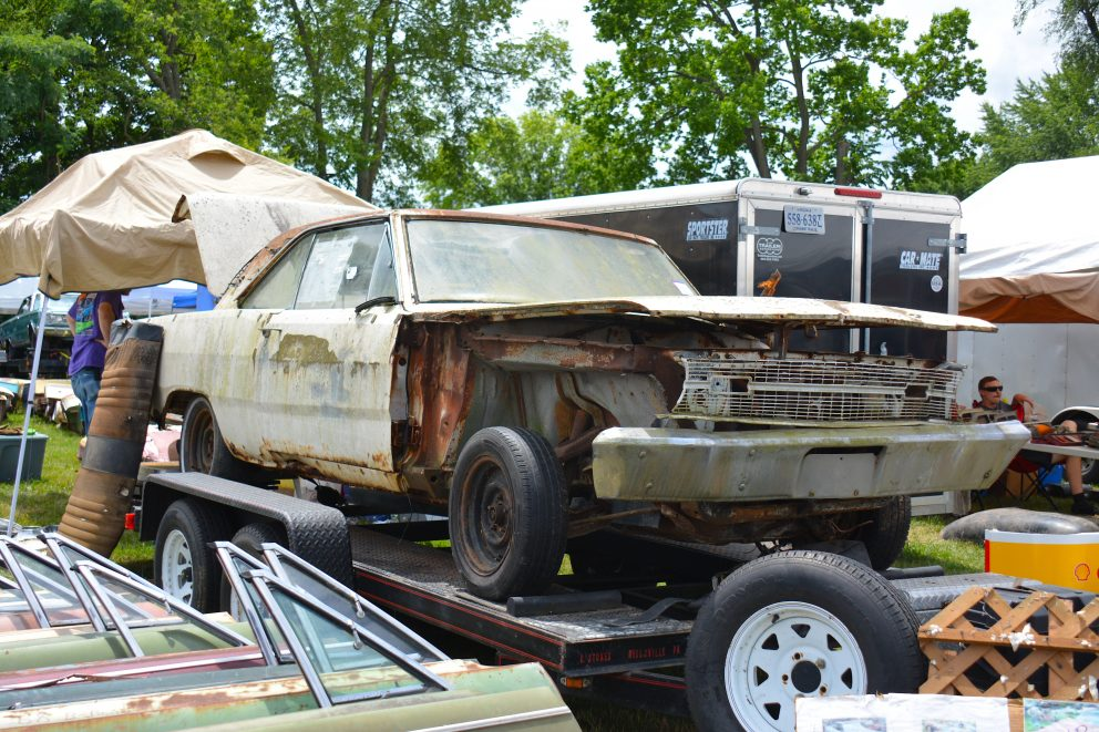 Vehicle on a trailer