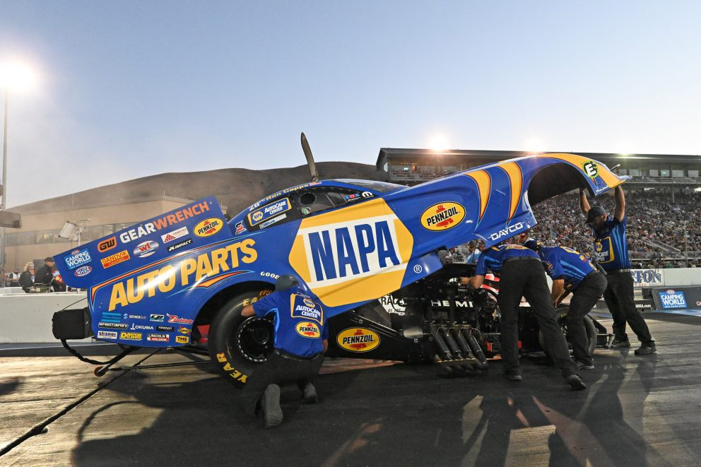 Ron Capps' crew working on his funny car