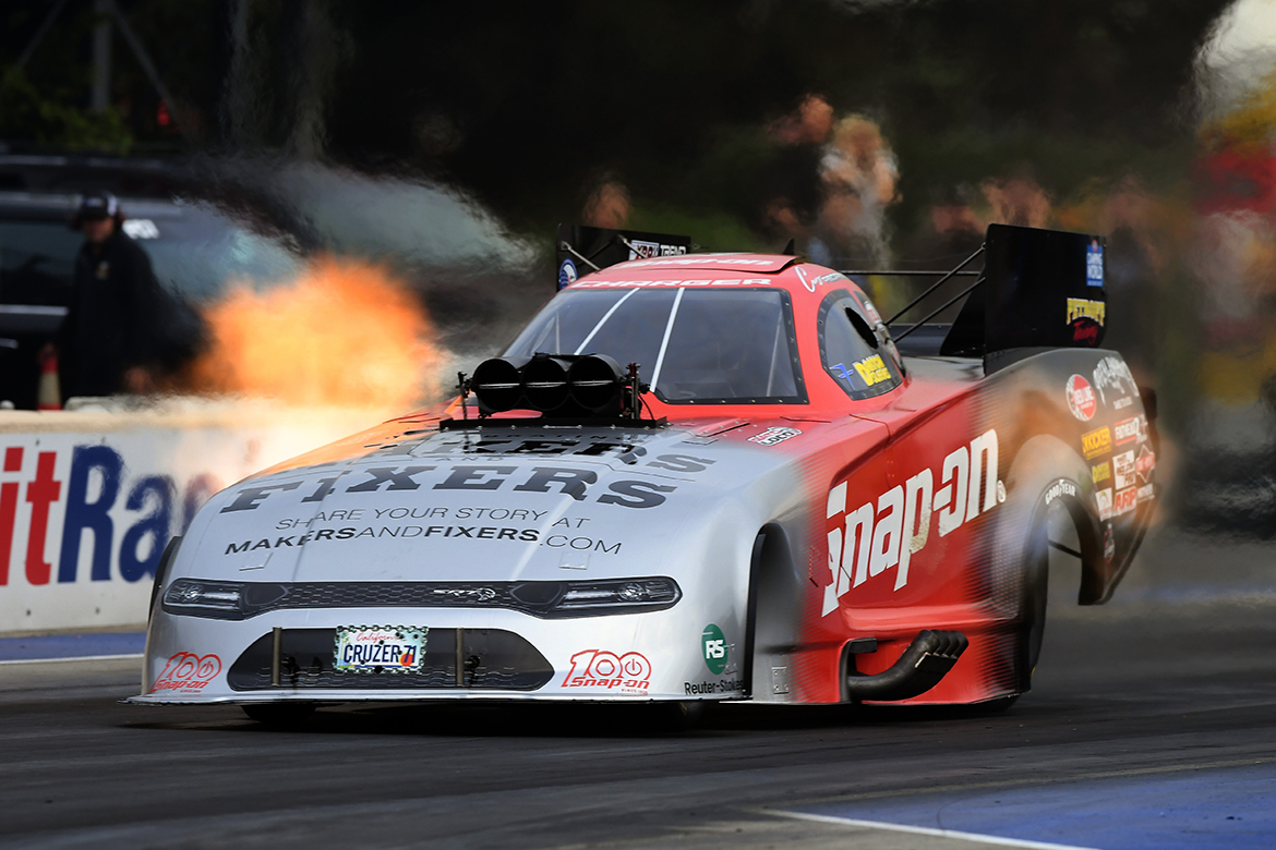 Snap-on® Tools Dodge Charger SRT Hellcat Funny car with fire coming out of it