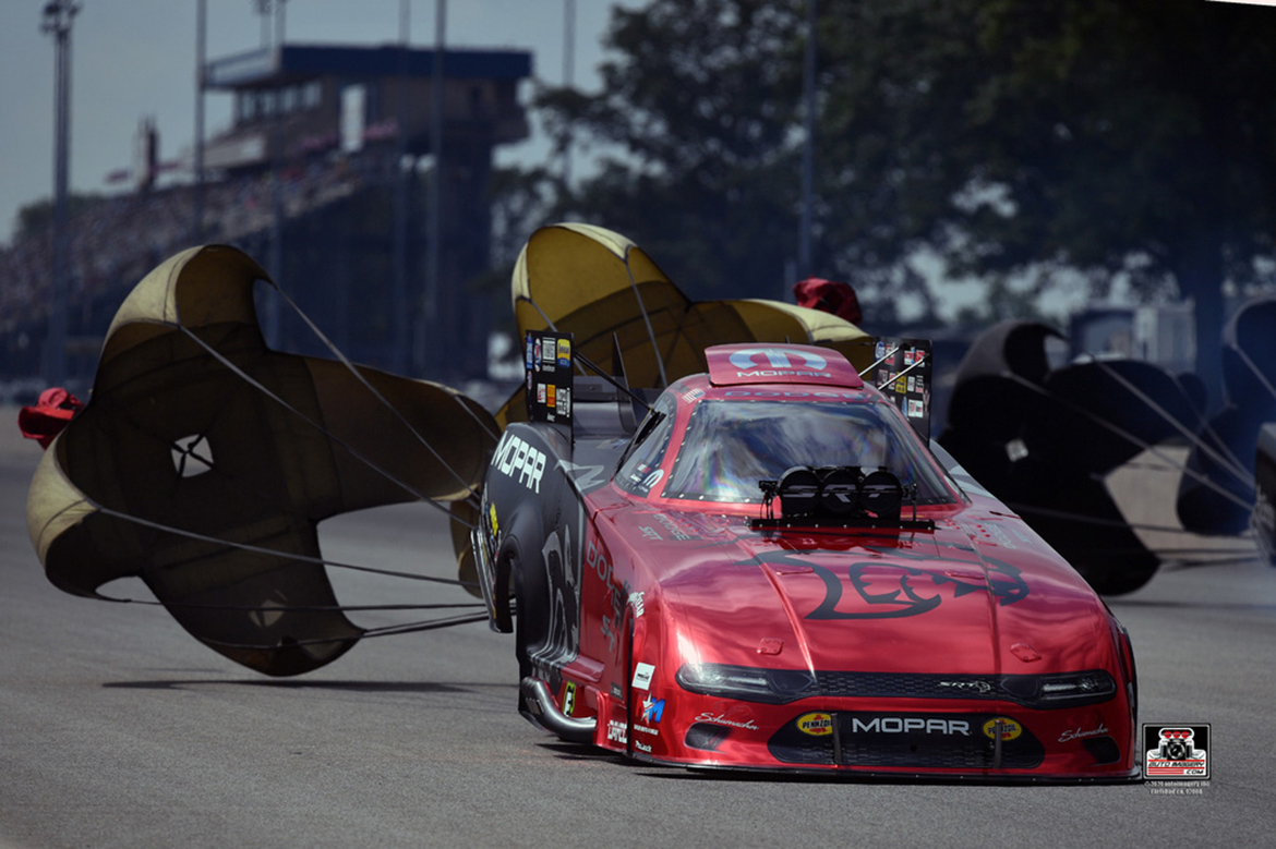 Mopar Dodge Charger SRT Hellcat Redeye Funny Car being slowed down by its parachutes