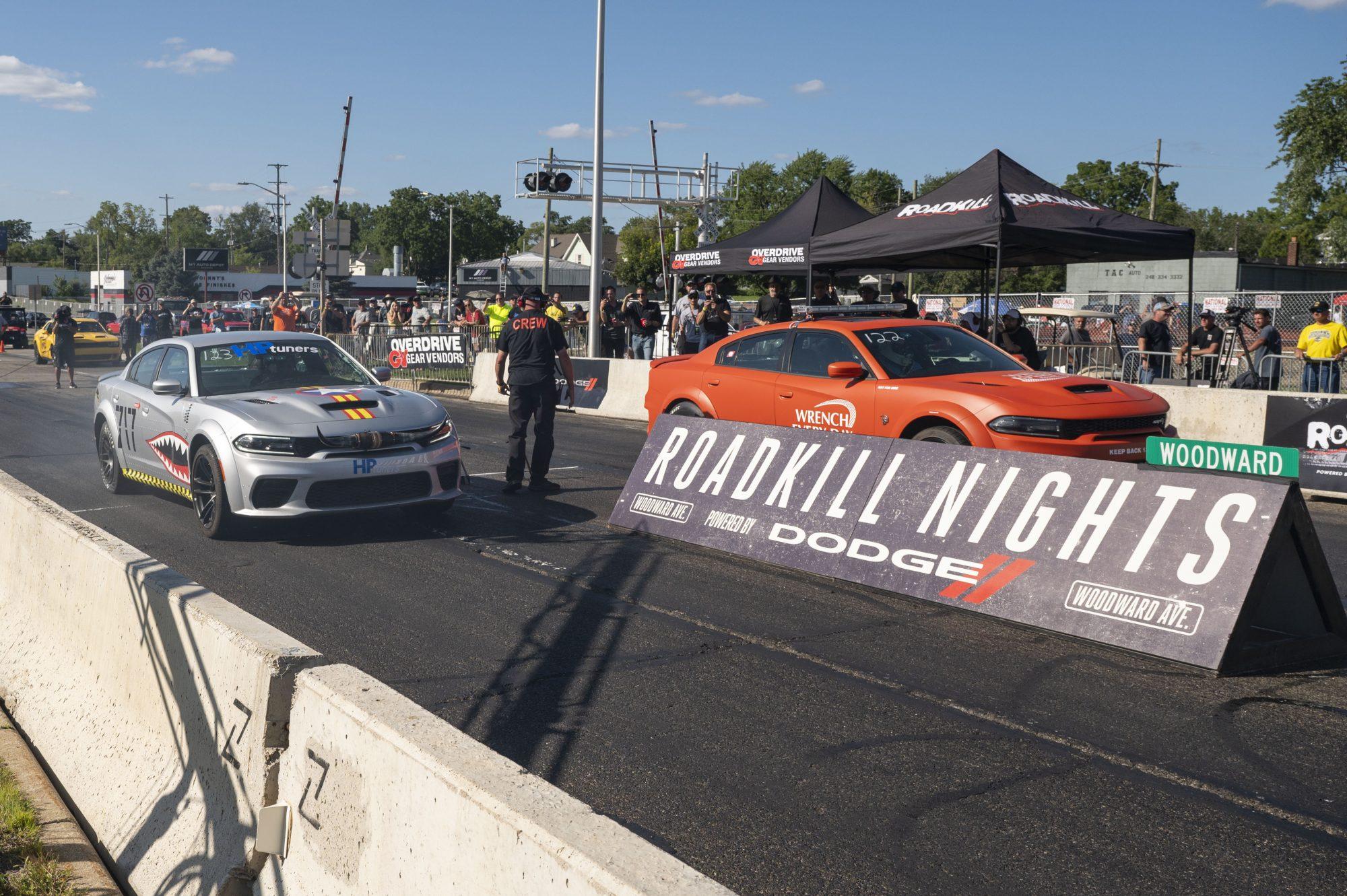 2 Chargers drag racing at Roadkill Nights