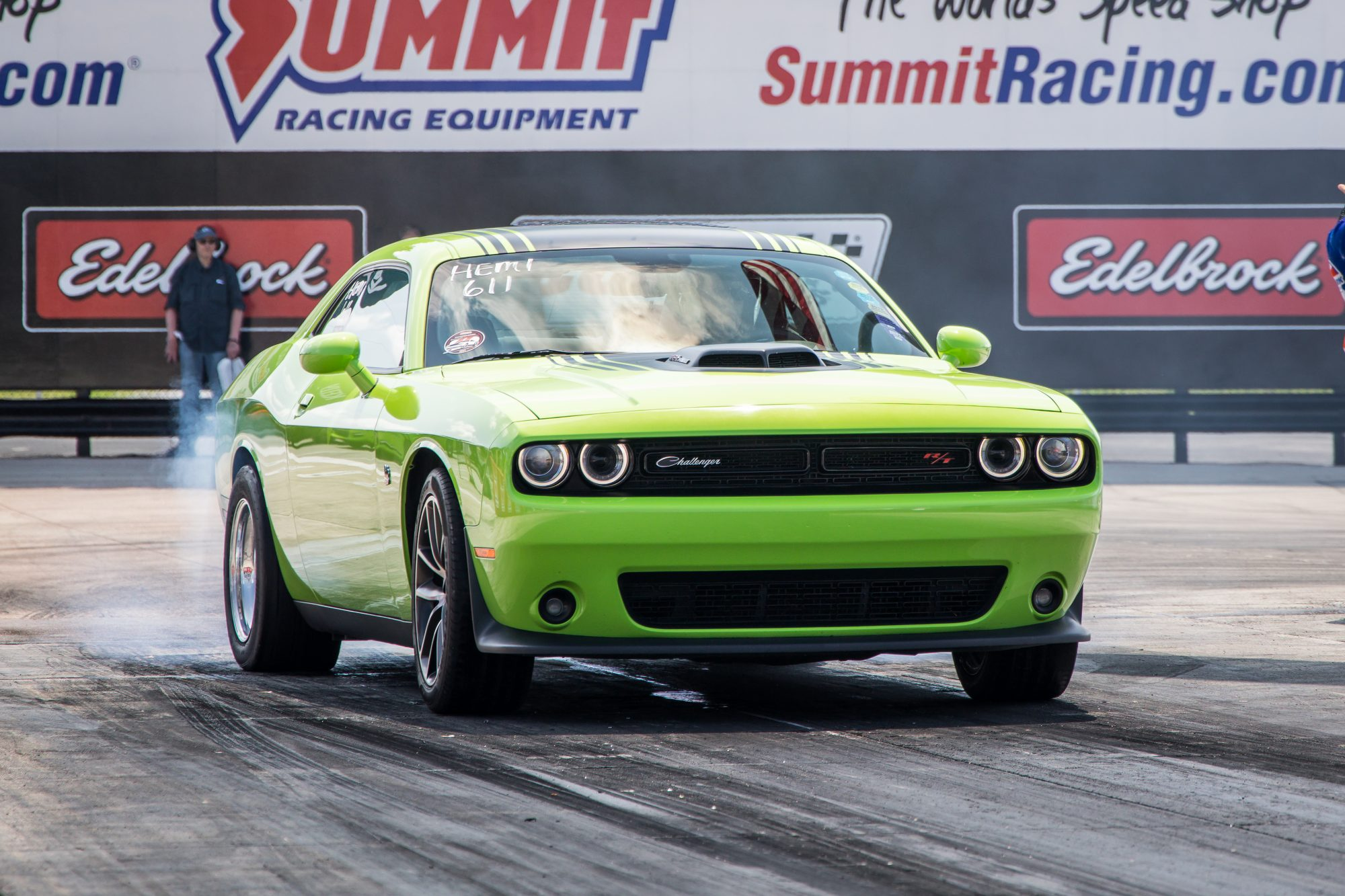 Challenger doing a burnout prior to drag racing