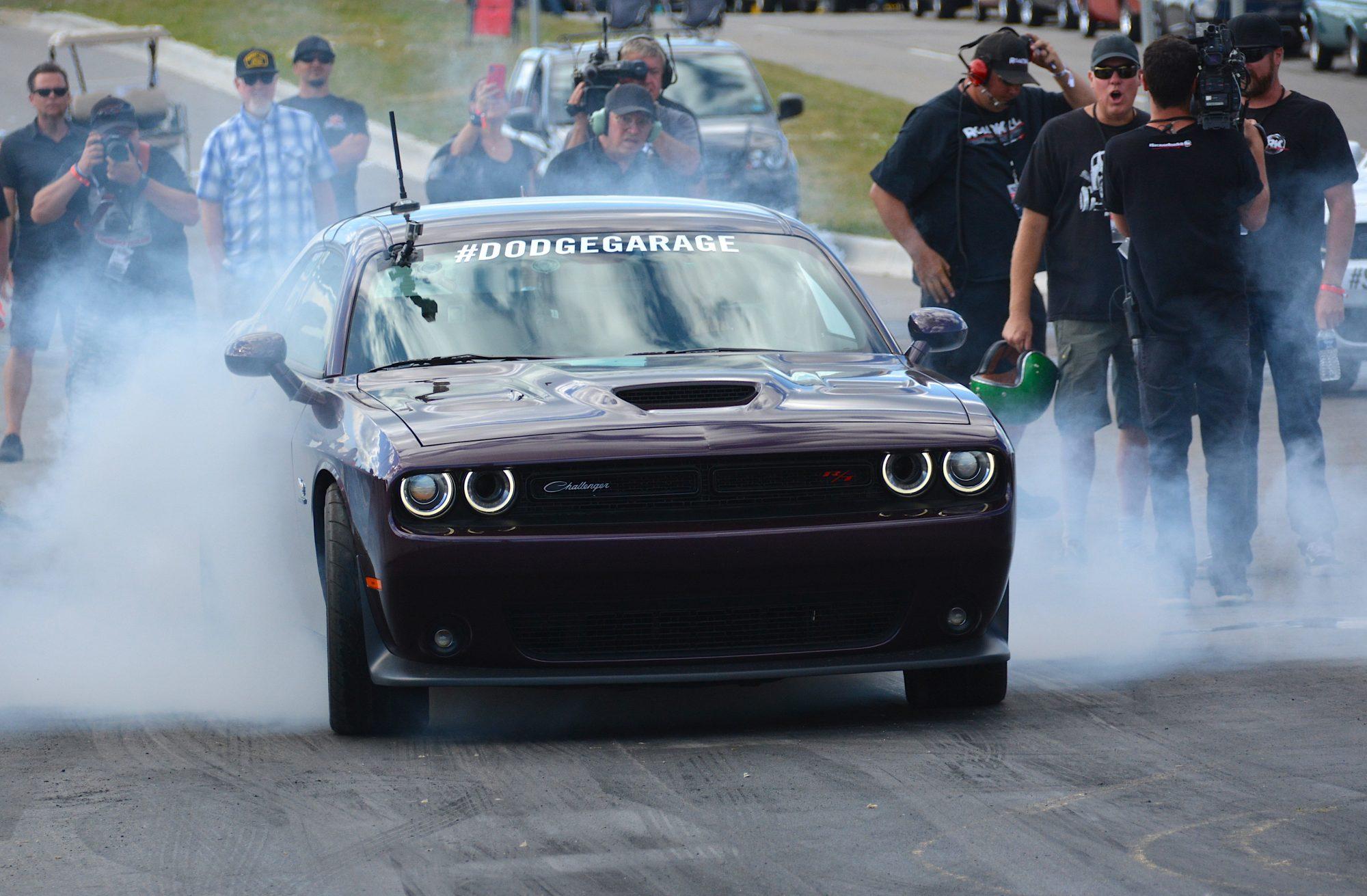 Challenger doing a burnout