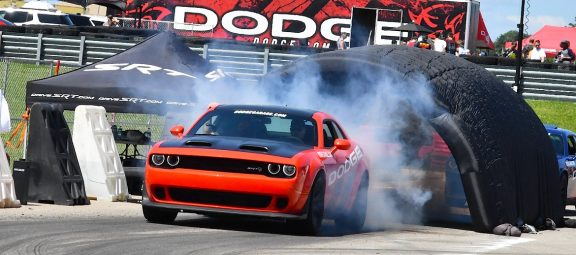 Challenger Thrill Ride vehicle doing a burnout