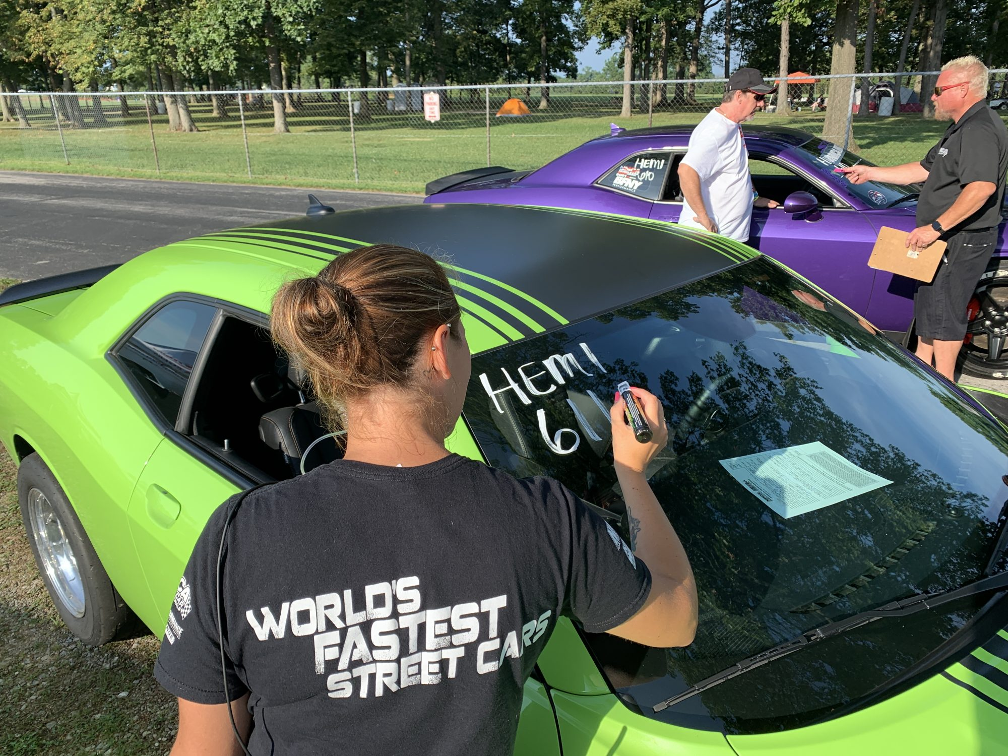 Staff checking in Dodge vehicles for the HEMI shootout