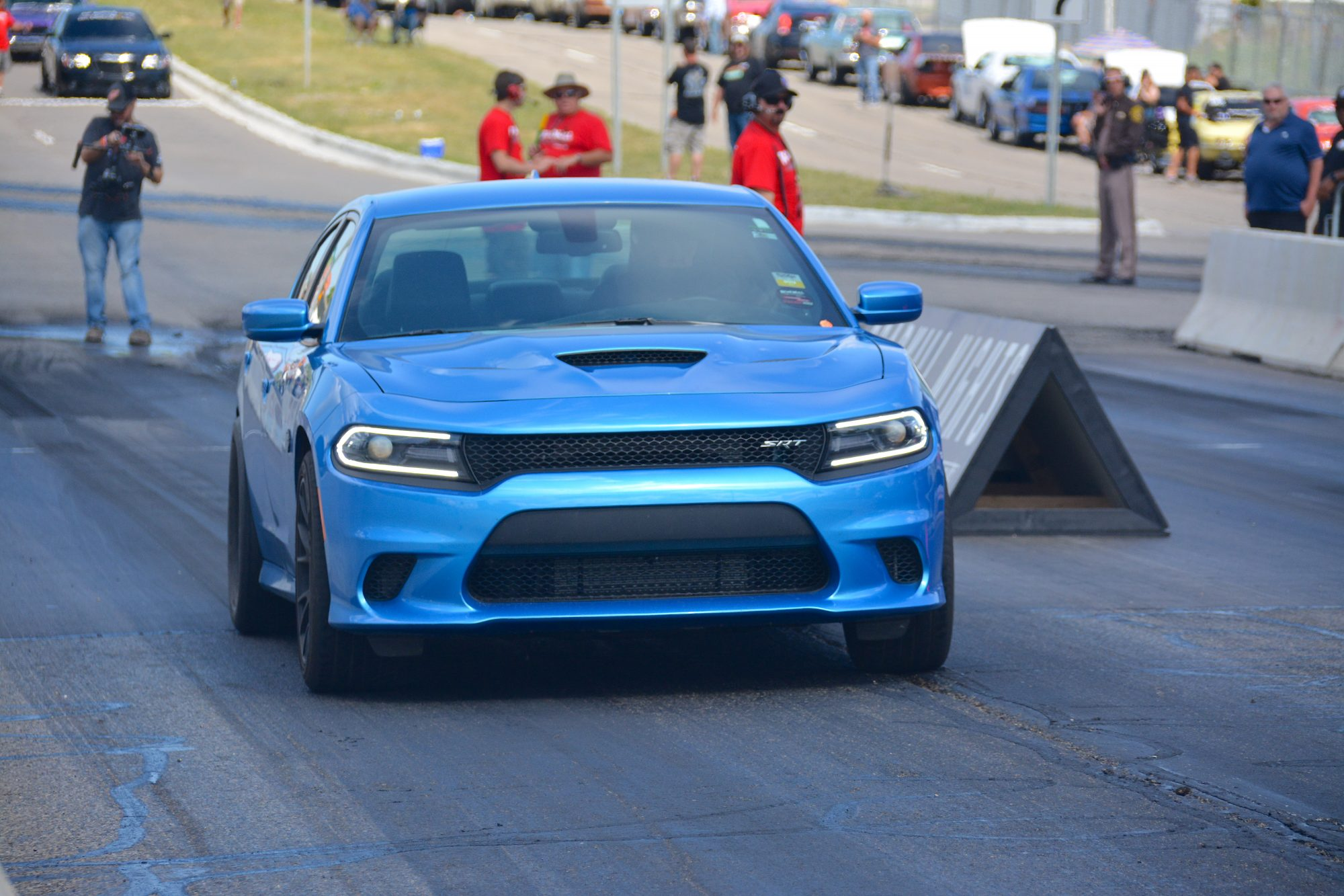 Charger drag racing at Roadkill Nights Powered by Dodge